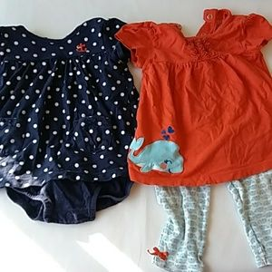 Pair of Carter's 12 month nautical outfits